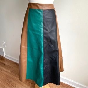 Faux leather color panel midi skirt